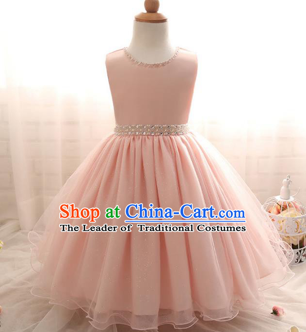 Top Grade Children Catwalks Costume Modern Dance Stage Performance Compere Pink Dress for Kids