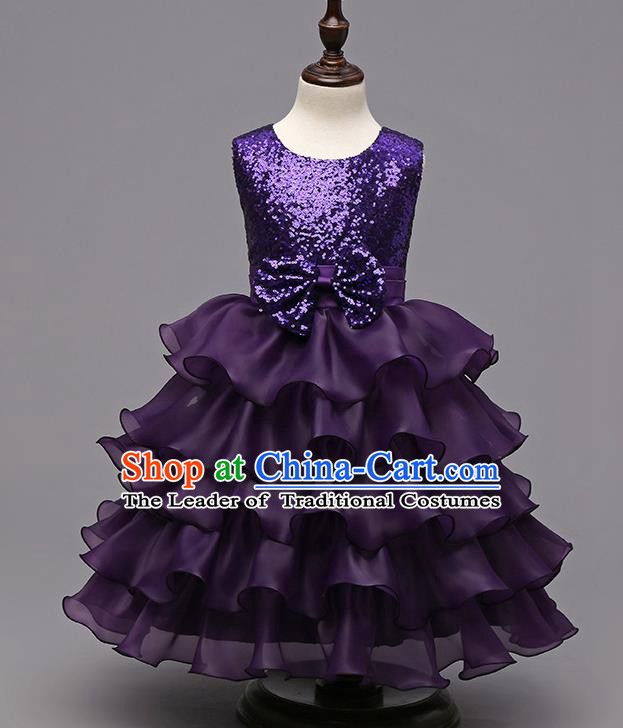 Top Grade Children Catwalks Costume Modern Dance Stage Performance Compere Purple Sequins Dress for Kids
