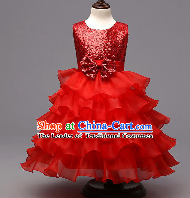 Top Grade Children Catwalks Costume Modern Dance Stage Performance Compere Red Sequins Dress for Kids