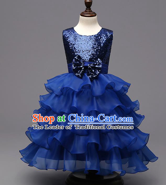 Top Grade Children Catwalks Costume Modern Dance Stage Performance Compere Royalblue Sequins Dress for Kids