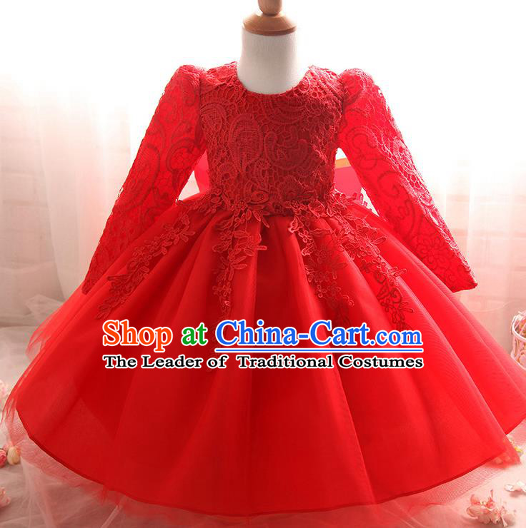 Top Grade Children Catwalks Costume Modern Dance Stage Performance Compere Red Lace Dress for Kids