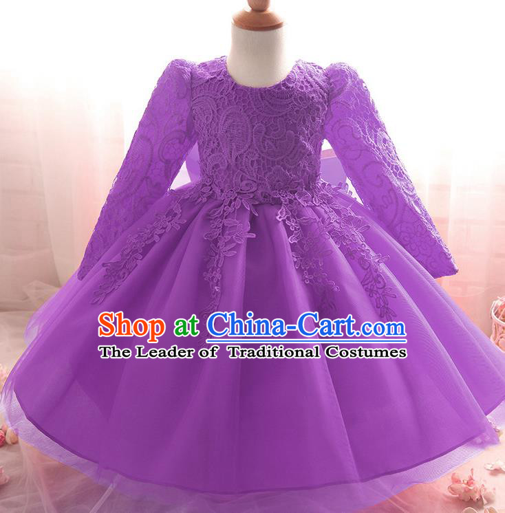 Top Grade Children Catwalks Costume Modern Dance Stage Performance Compere Purple Lace Dress for Kids