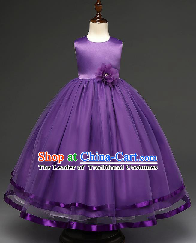 Top Grade Children Catwalks Costume Modern Dance Stage Performance Compere Purple Full Dress for Kids