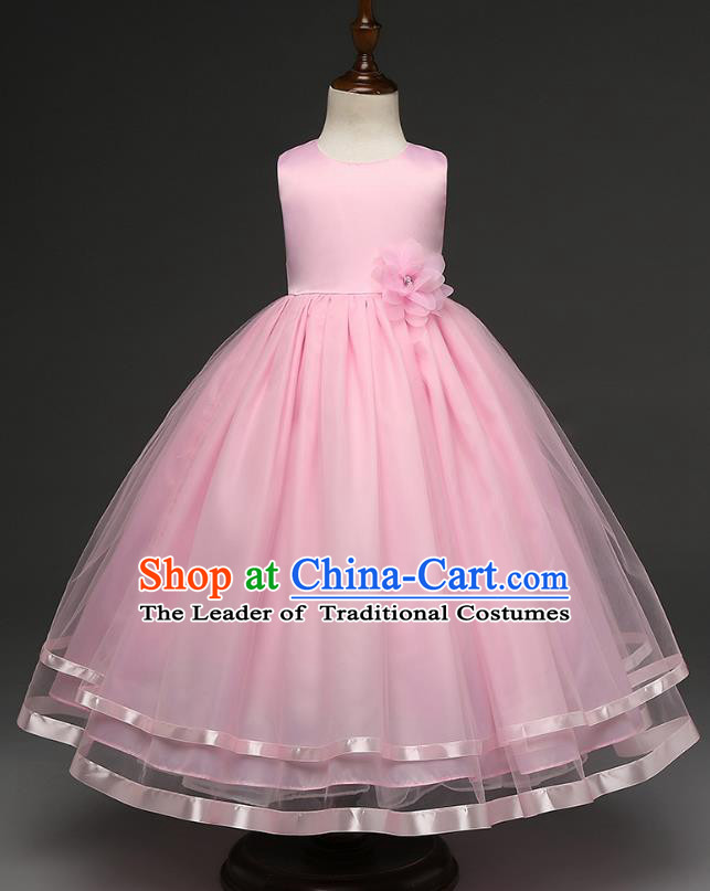 Top Grade Children Catwalks Costume Modern Dance Stage Performance Compere Pink Full Dress for Kids