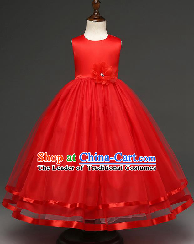 Top Grade Children Catwalks Costume Modern Dance Stage Performance Compere Red Full Dress for Kids