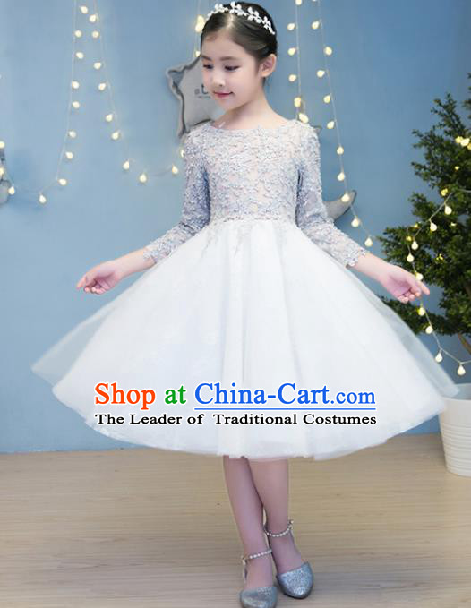 Children Models Show Costume Stage Performance Catwalks Compere White Veil Bubble Dress for Kids
