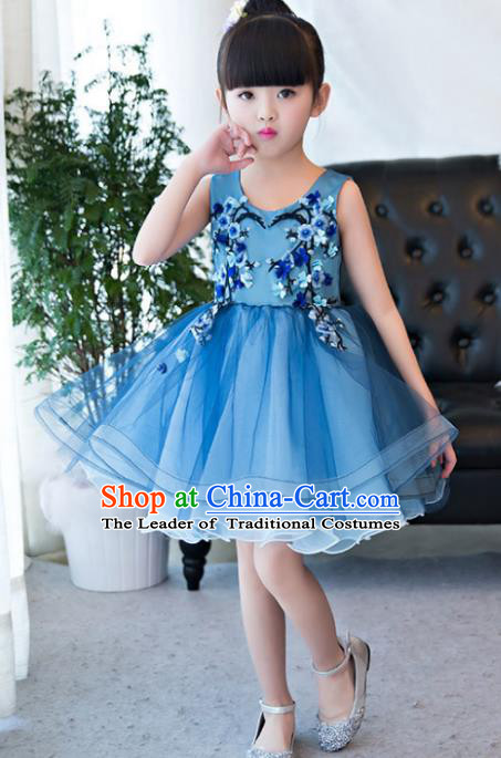 Children Catwalks Flower Fairy Costume Modern Dance Stage Performance Compere Blue Bubble Full Dress for Kids