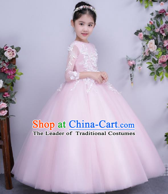 Children Catwalks Flower Fairy Costume Modern Dance Stage Performance Compere Pink Full Dress for Kids