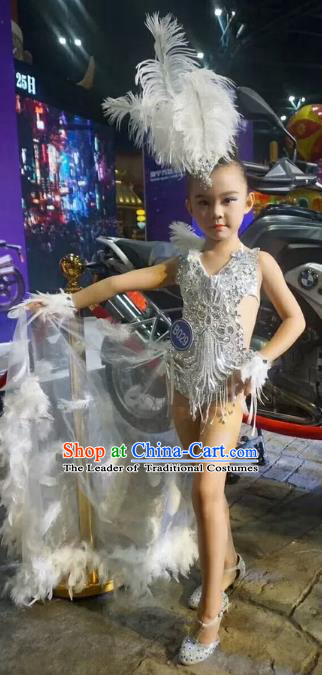 Children Models Show Costume Stage Performance Catwalks White Feather Bikini and Headpiece for Kids
