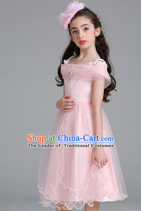 Children Models Show Compere Costume Stage Performance Catwalks Pink Full Dress for Kids