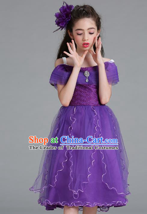 Children Models Show Compere Costume Stage Performance Catwalks Purple Full Dress for Kids
