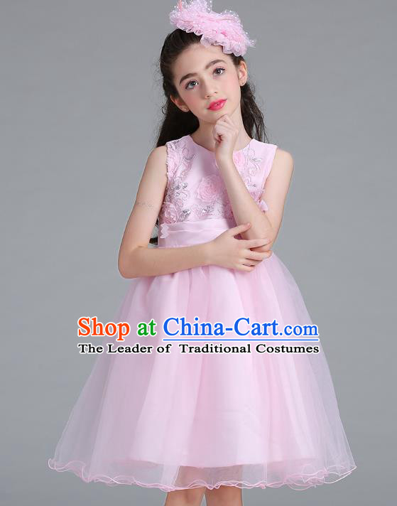 Children Models Show Compere Costume Stage Performance Catwalks Pink Veil Full Dress for Kids