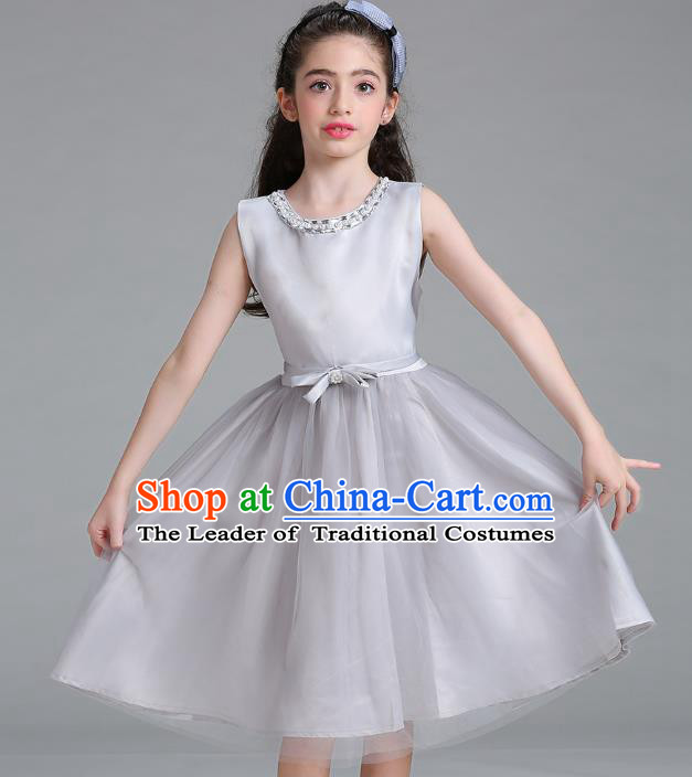 Children Models Show Compere Costume Stage Performance Catwalks Grey Veil Full Dress for Kids