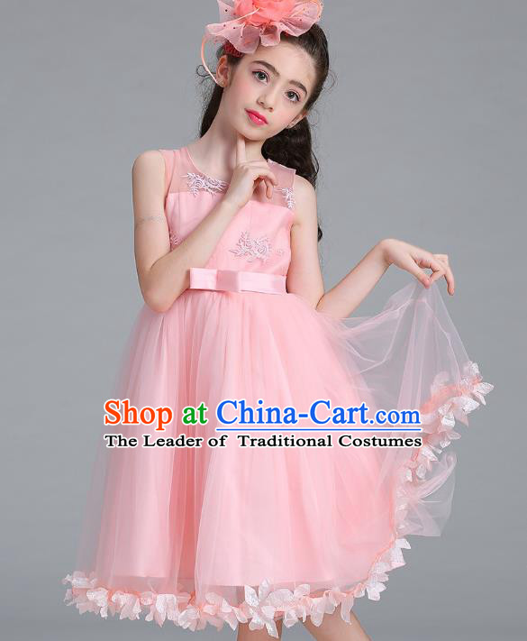 Children Models Show Compere Costume Stage Performance Girls Princess Pink Full Dress for Kids