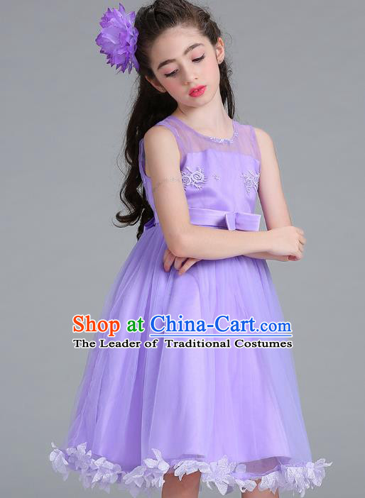Children Models Show Compere Costume Stage Performance Girls Princess Purple Full Dress for Kids