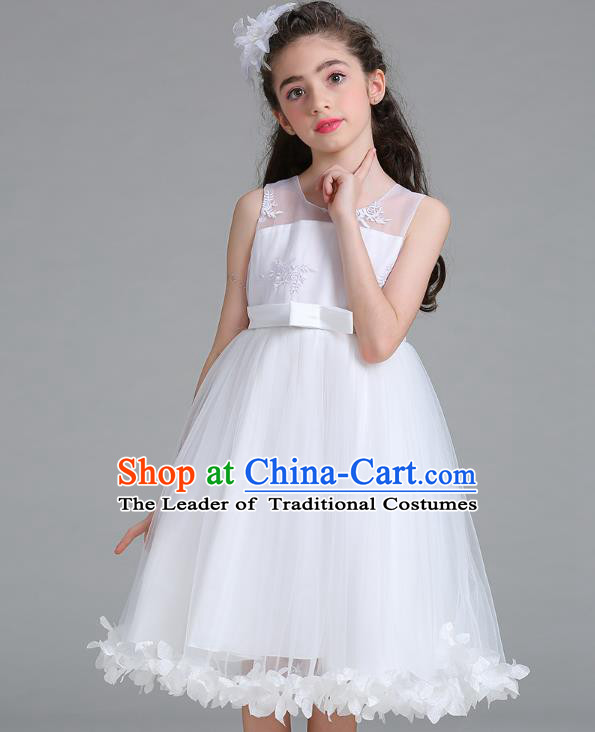 Children Models Show Compere Costume Stage Performance Girls Princess White Full Dress for Kids