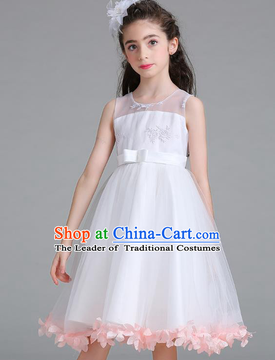 Children Models Show Compere Costume Stage Performance Girls Princess Pink Petals Full Dress for Kids