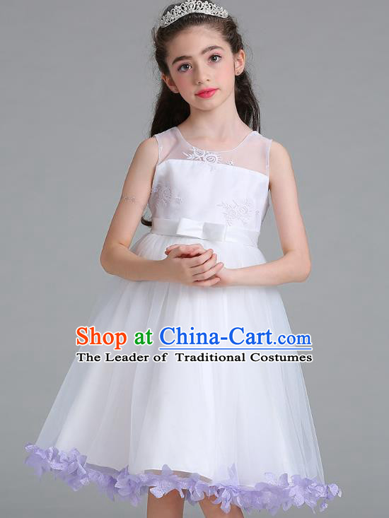 Children Models Show Compere Costume Stage Performance Girls Princess Purple Petals Full Dress for Kids