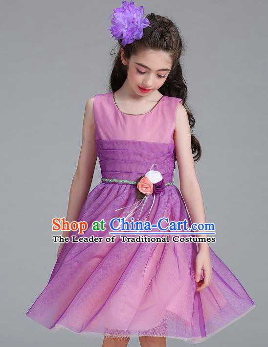 Children Models Show Compere Costume Stage Performance Girls Princess Rosy Dress for Kids