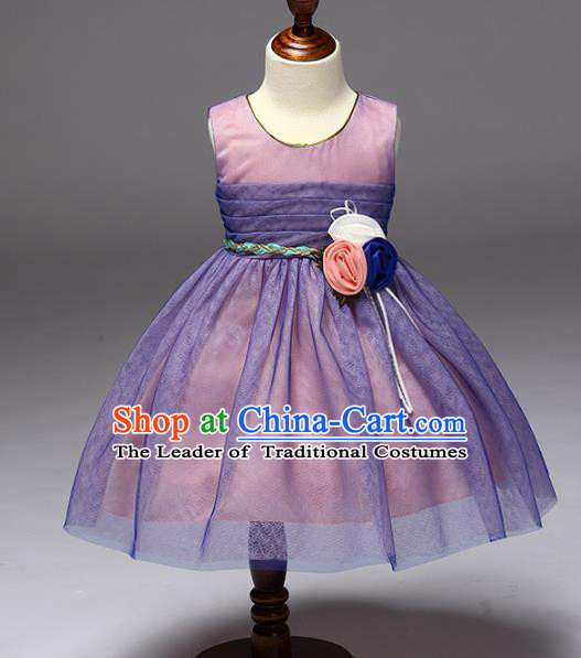 Children Models Show Compere Costume Stage Performance Girls Princess Purple Dress for Kids