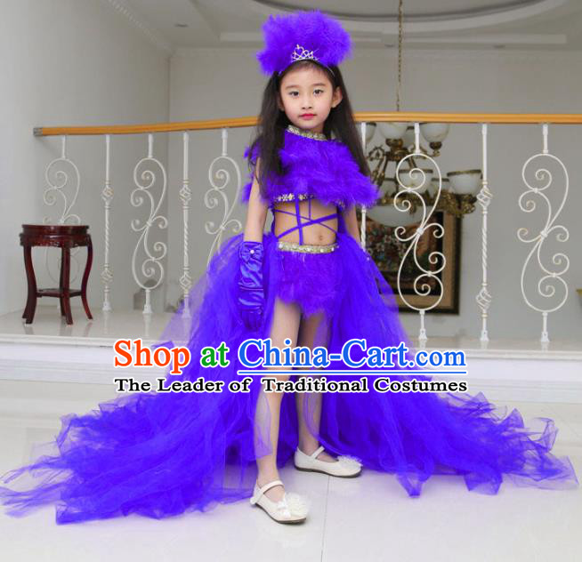 Children Models Show Compere Costume Girls Princess Purple Veil Mullet Dress Stage Performance Clothing for Kids