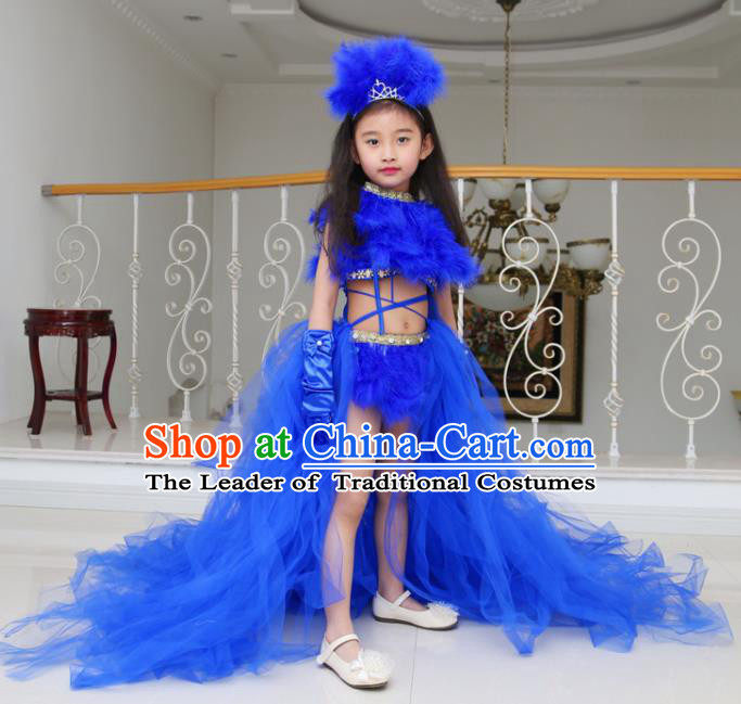 Children Models Show Compere Costume Girls Princess Royalblue Veil Mullet Dress Stage Performance Clothing for Kids