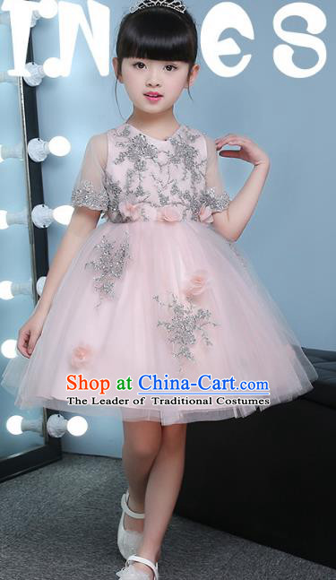 Children Models Show Compere Costume Girls Princess Pink Veil Dress Stage Performance Clothing for Kids