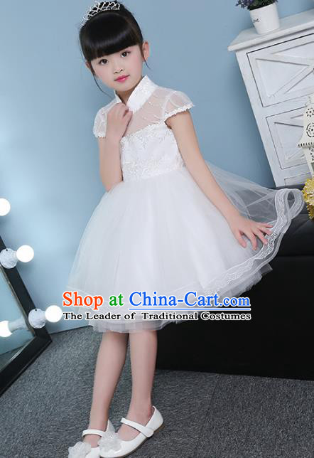 Children Models Show Costume Compere White Full Dress Stage Performance Clothing for Kids
