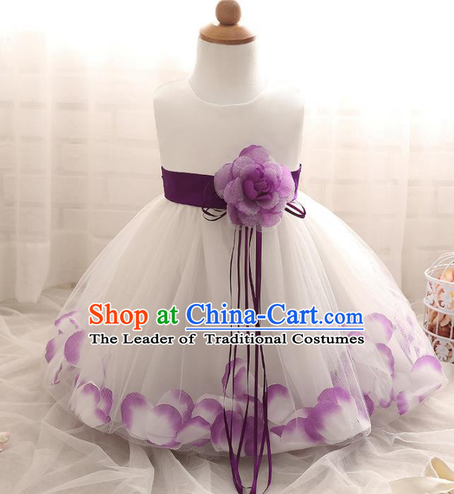 Children Models Show Costume Compere Purple Rose Full Dress Stage Performance Clothing for Kids
