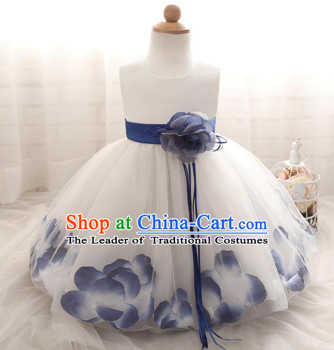 Children Models Show Costume Compere Blue Rose Full Dress Stage Performance Clothing for Kids