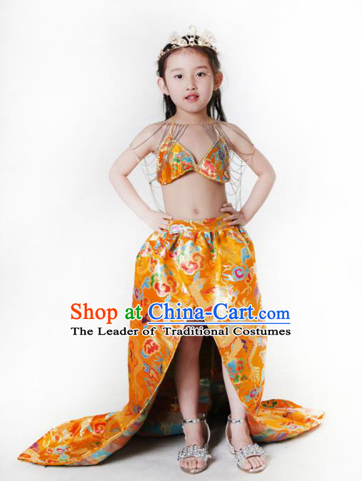 Children Models Show Costume Chinese Compere Full Dress Stage Performance Clothing for Kids