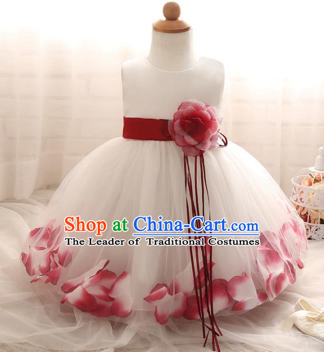 Children Models Show Costume Compere Red Rose Full Dress Stage Performance Clothing for Kids
