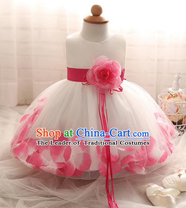 Children Models Show Costume Compere Rosy Rose Full Dress Stage Performance Clothing for Kids