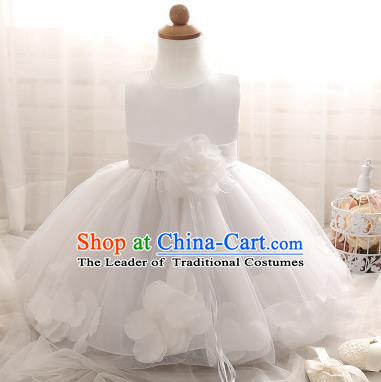 Children Models Show Costume Compere White Rose Full Dress Stage Performance Clothing for Kids