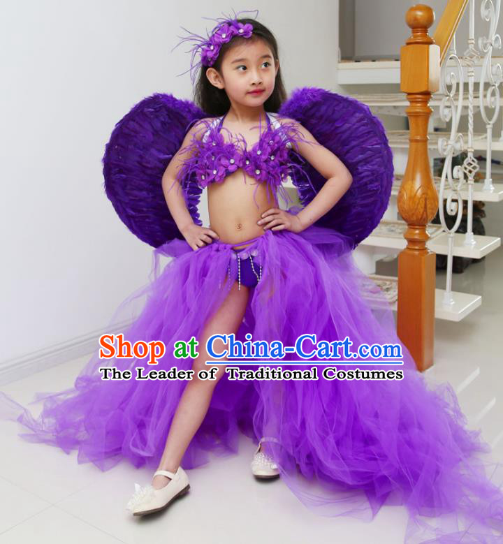 Children Models Show Costume Catwalks Stage Performance Purple Trailing Swimsuit and Feather Wings for Kids