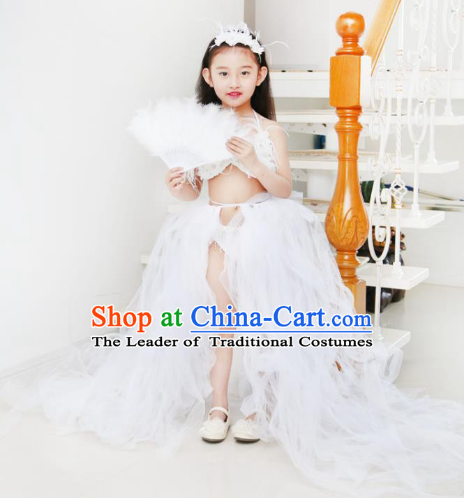 Children Models Show Costume Catwalks Stage Performance White Trailing Swimsuit for Kids