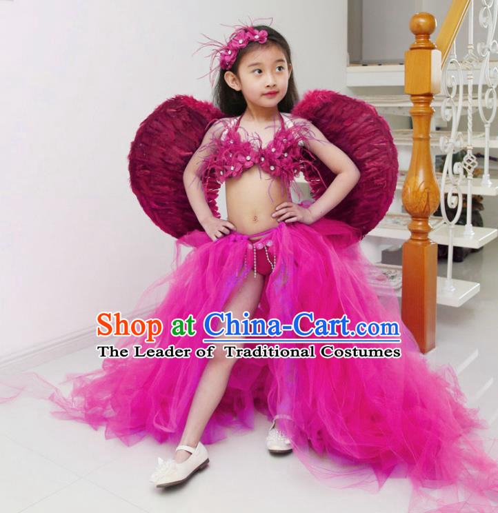Children Models Show Costume Catwalks Stage Performance Rosy Trailing Swimsuit and Feather Wings for Kids