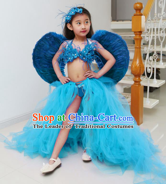 Children Models Show Costume Catwalks Stage Performance Blue Trailing Swimsuit and Feather Wings for Kids