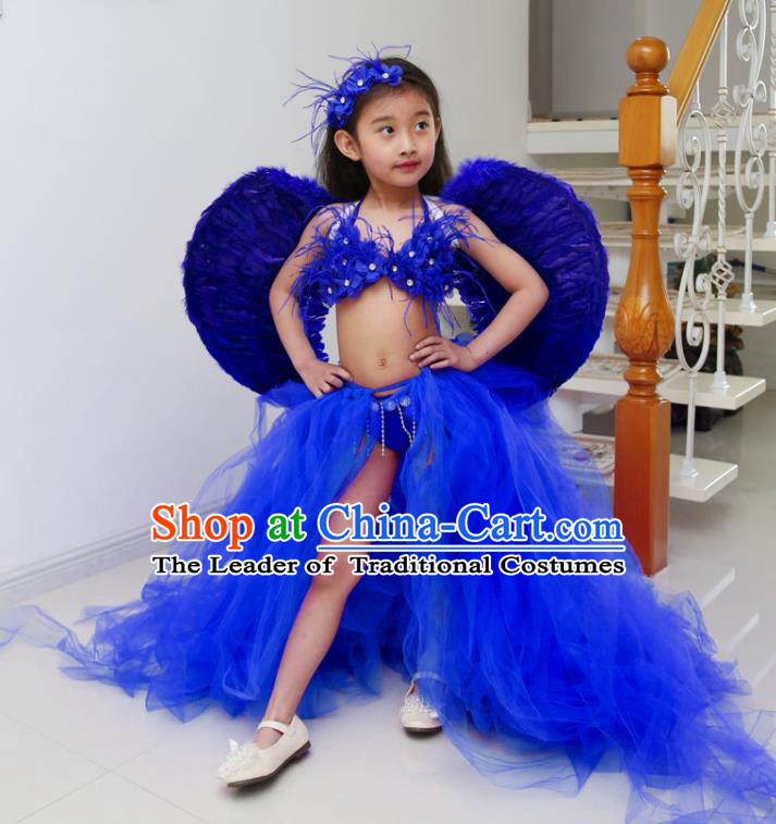 Children Models Show Costume Catwalks Stage Performance Royalblue Trailing Swimsuit and Feather Wings for Kids