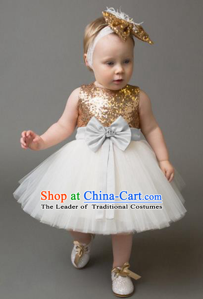 Children Models Show Costume Compere Golden Sequins Full Dress Stage Performance Clothing for Kids