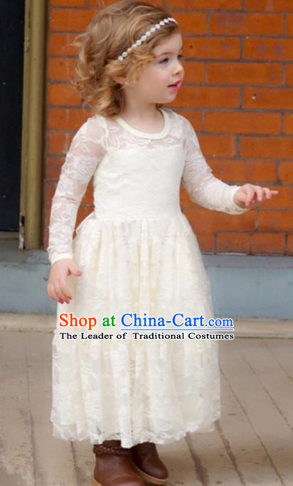 Children Models Show Costume Compere White Lace Full Dress Stage Performance Clothing for Kids