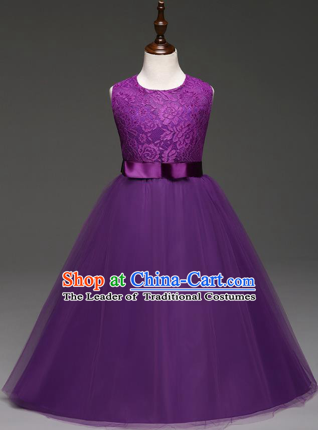 Children Models Show Costume Compere Purple Lace Full Dress Stage Performance Clothing for Kids