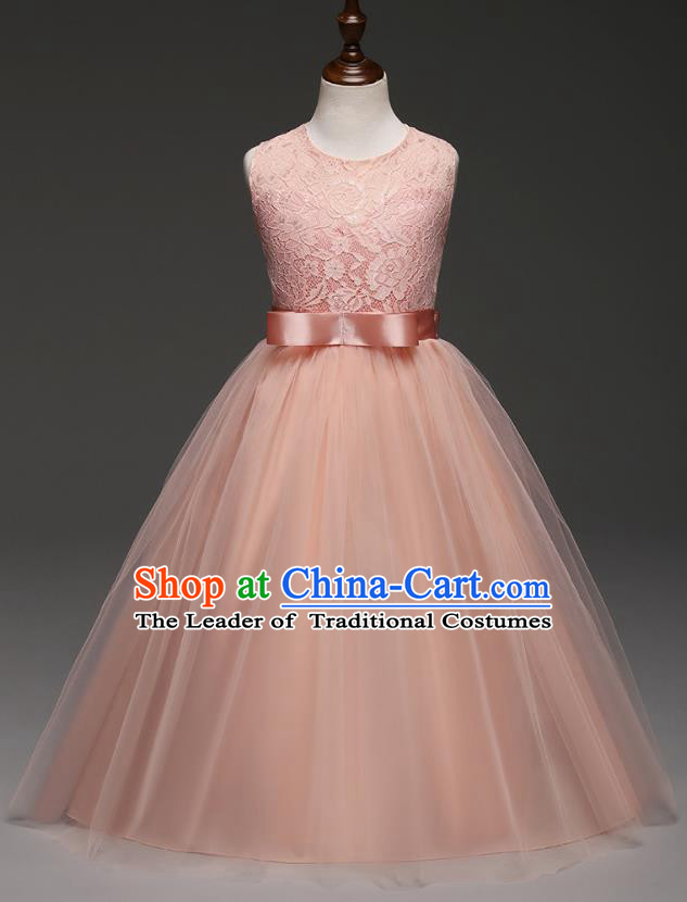 Children Models Show Costume Compere Pink Lace Full Dress Stage Performance Clothing for Kids