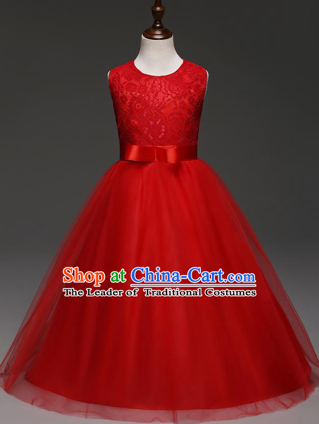 Children Models Show Costume Compere Red Lace Full Dress Stage Performance Clothing for Kids