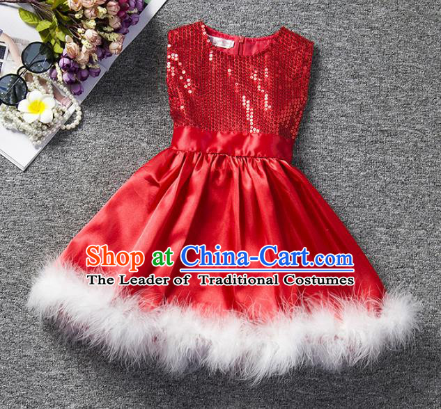 Children Flower Fairy Costume Compere Modern Dance Stage Performance Catwalks Red Sequins Dress for Kids