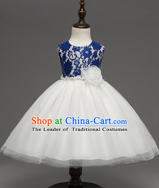 Children Catwalks Flower Fairy Costume Modern Dance Stage Performance Compere Blue Lace Full Dress for Kids
