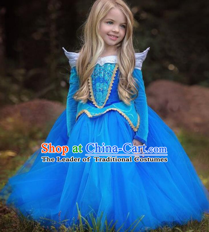 Children Fairytales Princess Costume Compere Modern Dance Stage Performance Catwalks Blue Dress for Kids