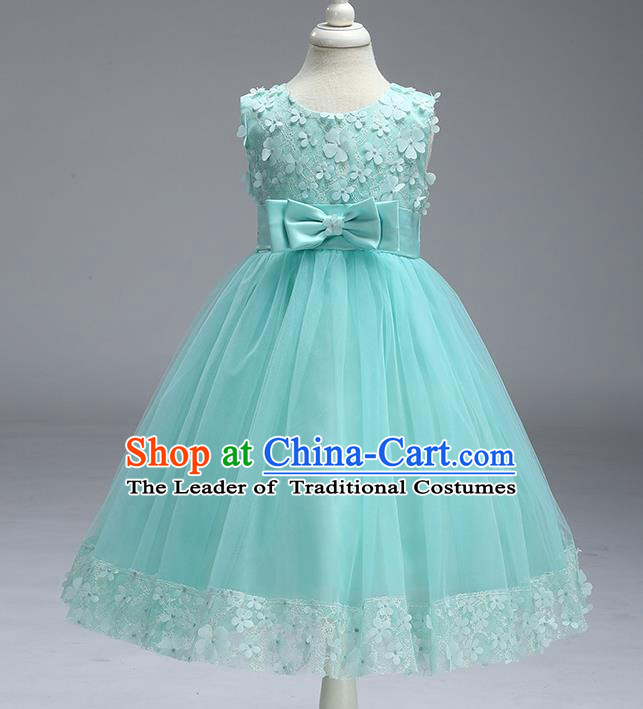 Children Fairy Princess Green Veil Dress Stage Performance Catwalks Compere Costume for Kids