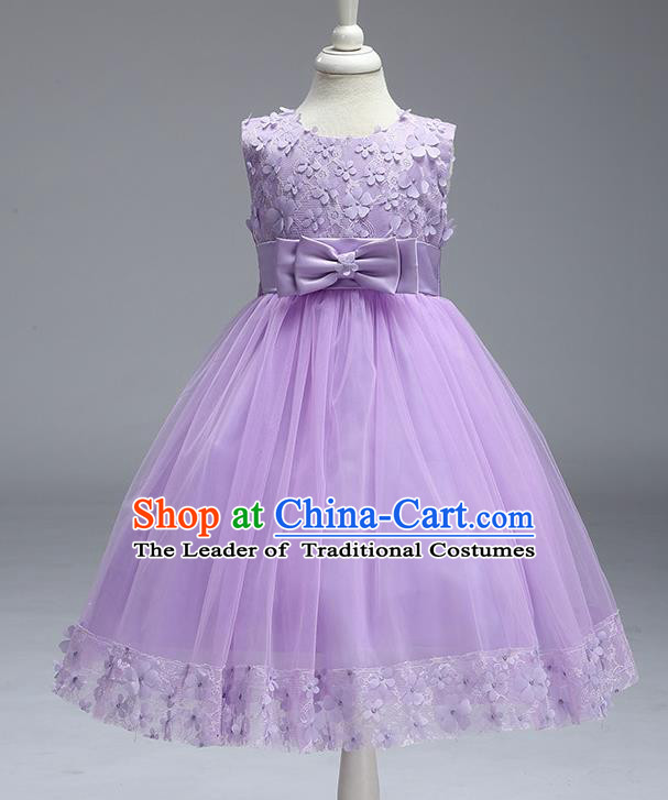 Children Fairy Princess Purple Veil Dress Stage Performance Catwalks Compere Costume for Kids
