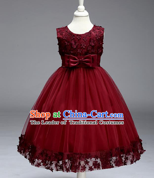 Children Fairy Princess Wine Red Veil Dress Stage Performance Catwalks Compere Costume for Kids